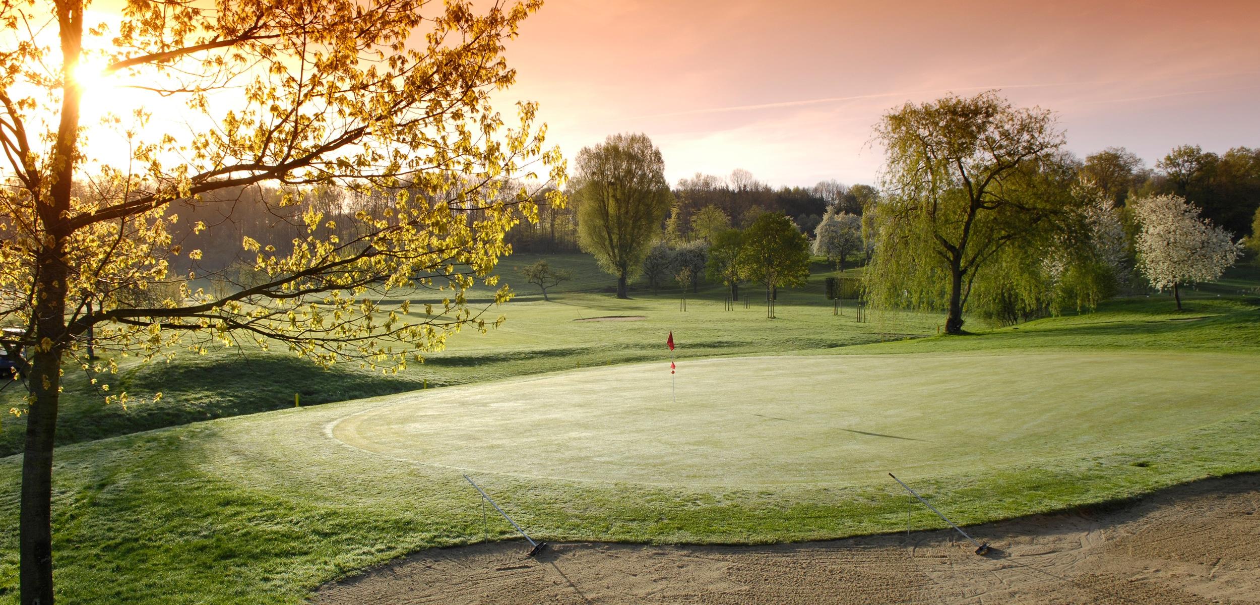 Golfgreen im Herbst