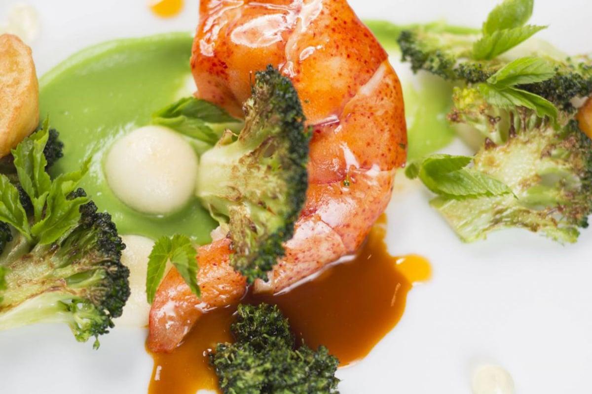Nahaufnahme Garnele mit Brokoli